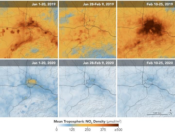 Concentraciones medias de óxidos de nitrógeno troposféricos en Wuhan antes, durante y después del confinamiento provocado por el covid-19.