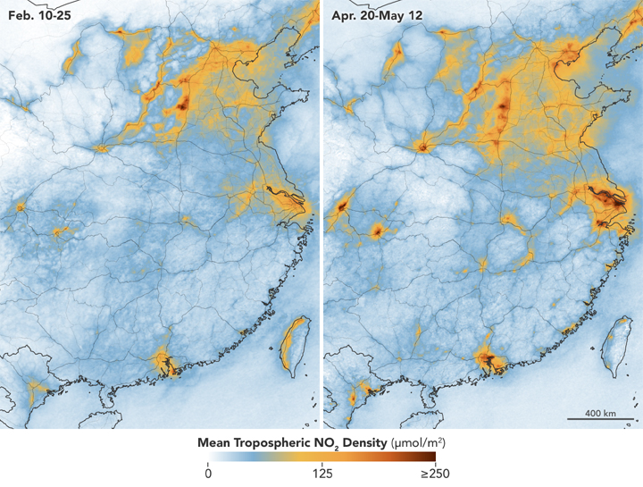 Concentraciones medias de óxidos de nitrógeno troposféricos en la mitad oriental de China antes y después del confinamiento.