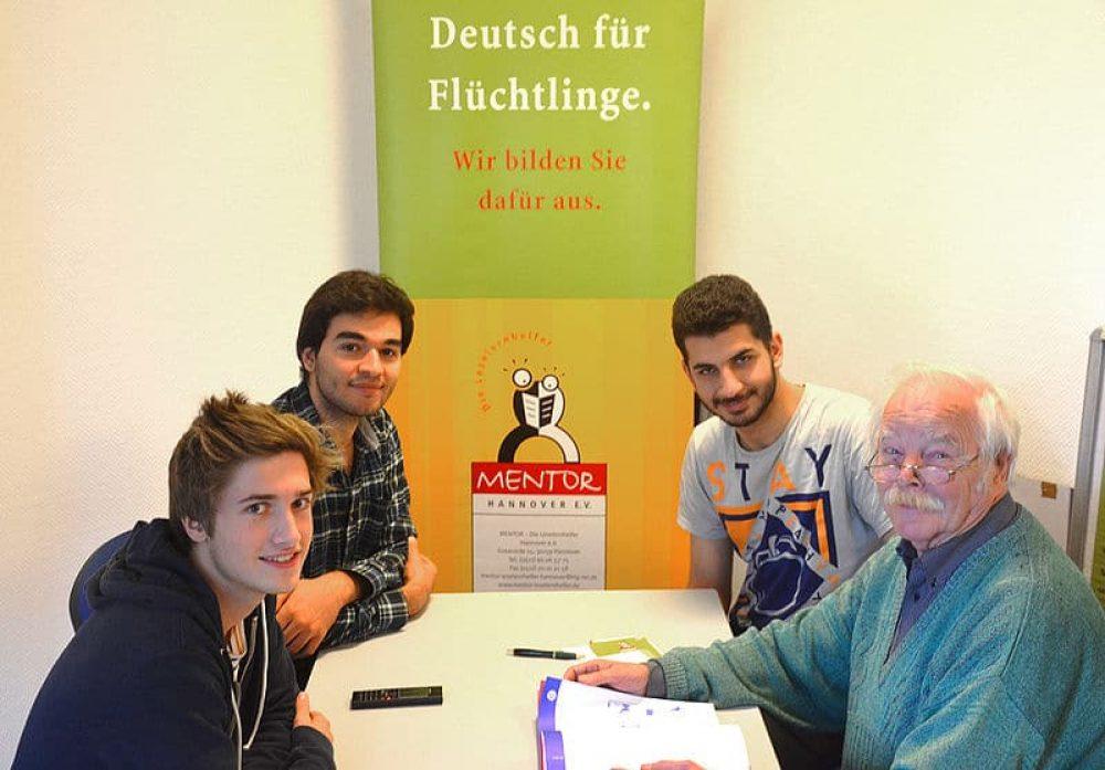 Curso de alemán para refugiados, en la Universidad de Hannover
