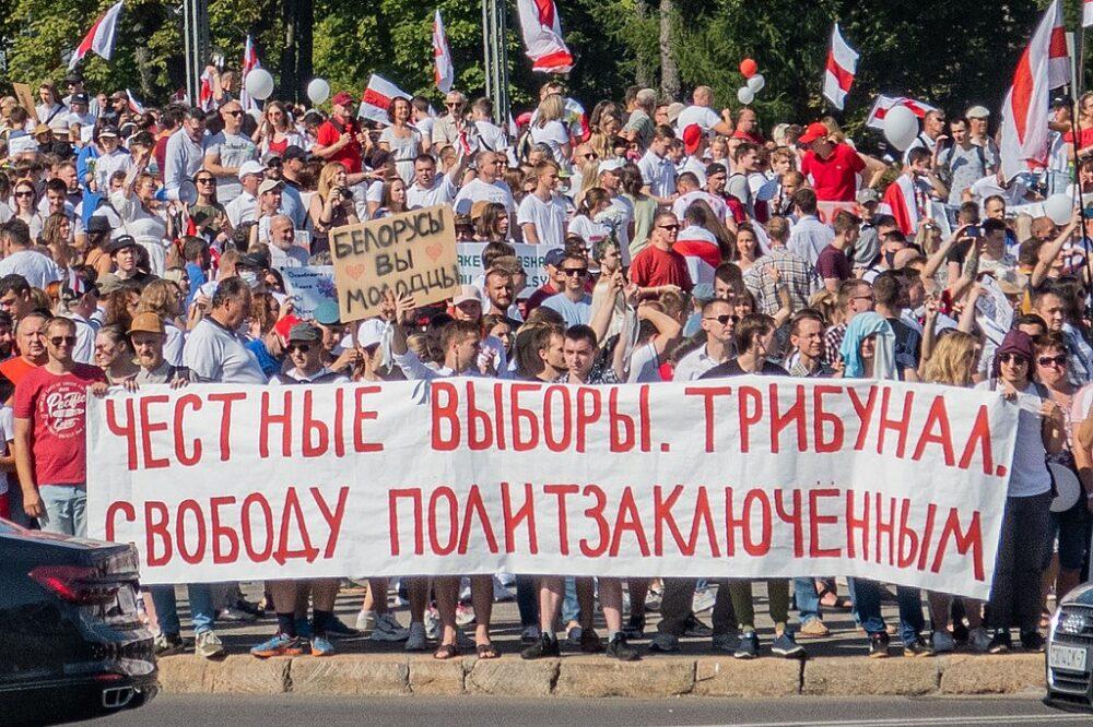 Manifestación contra Lukashenko en Minsk, 16-08-2020 (CC Homoatrox)