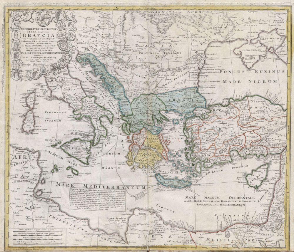 Mapa antiguo del Mediterraneo