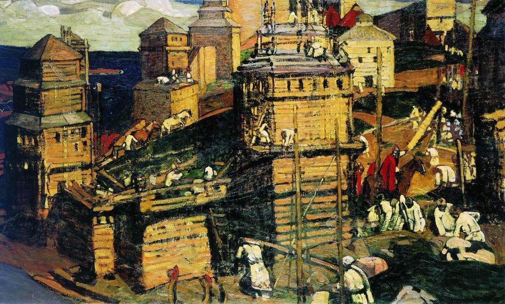Nikolái Roerich, Construyendo una ciudad (1902)
