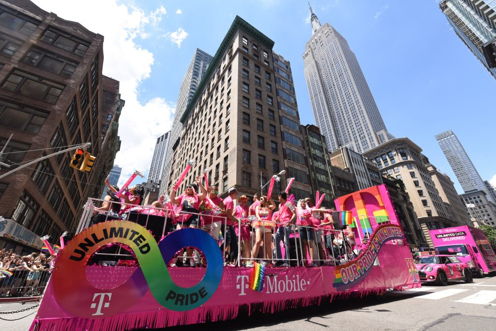 T-Mobile employees show #UnlimitedPride as they celebrate equal rights for the LGBTQ community during the New York City Pride March, Sunday, June 25, 2017. T-Mobile was the presenting sponsor of the event. (Photo by Diane Bondareff/AP Images for T-Mobile)